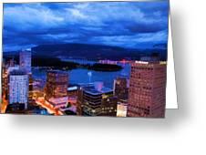 Vancouver At Night Greeting Card