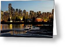 Vancouver Bc City Skyline And Deadman's Island Greeting Card