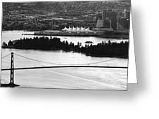 Vancouver Bc City Skyline And Lions Gate Bridge Greeting Card