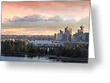 Vancouver Bc City Skyline And Stanley Park Greeting Card