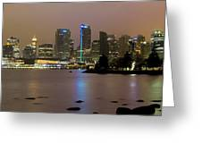 Vancouver Bc City Skyline At Night Greeting Card