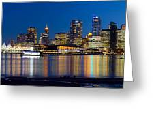 Vancouver Bc City Skyline Reflection Greeting Card
