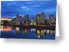 Vancouver Bc City Skyline With Bc Place At Blue Hour Greeting Card