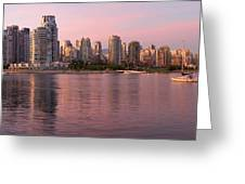 Vancouver Bc Skyline Along False Creek At Dusk Greeting Card