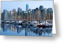 Vancouver Bc Skyline Along False Creek Greeting Card