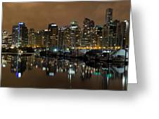 Vancouver Bc Skyline From Stanley Park At Nigh Greeting Card