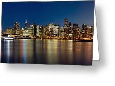 Vancouver Bc Skyline From Stanley Park During Blue Hour Greeting Card