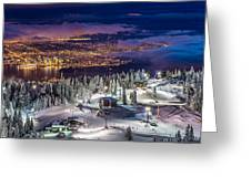Vancouver City Panorama From Grouse Mountain  Greeting Card