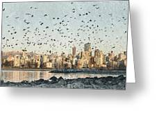 Vancouver Skyline With Crows Greeting Card