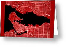 Vancouver Street Map - Vancouver Canada Road Map Art On Color Greeting Card