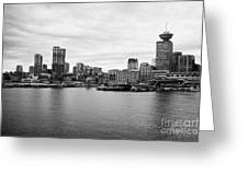 Vancouver Waterfront Skyline At Gastown Bc Canada Greeting Card by Joe Fox