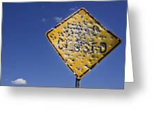 Vandalized Road Sign Many Bullet Holes Greeting Card