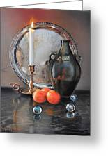 Vanitas Still Life By Candlelight With Clementines 1 Greeting Card