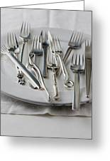 Various Forks On A Plate Greeting Card