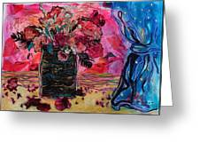 Vase And Blue Curtain Greeting Card