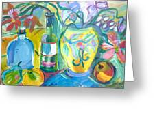 Vase And Bottles In Still Life Greeting Card