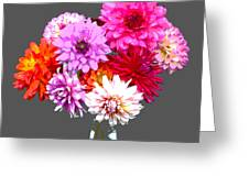 Vase Of Bright Dahlia Flowers Posterized Greeting Card