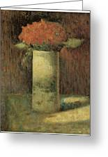 Vase Of Flowers Greeting Card by Georges Seurat