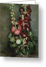 Vase Of Hollyhocks Greeting Card
