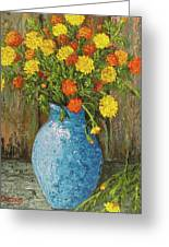 Vase Of Marigolds Greeting Card