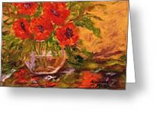 Vase Of Poppies Greeting Card by Barbara Pirkle