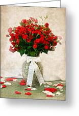 Vase Of Red Roses Greeting Card