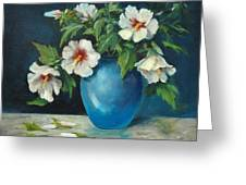 Vase Of Rose Of Sharons Greeting Card by Jolyn Kuhn