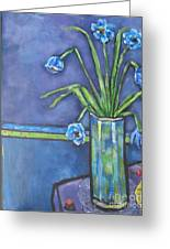Vase With Blue Flowers And Cherries Greeting Card