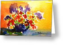 Vase With Multicolored Flowers Greeting Card