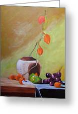 Vase With Orange Leaves And Fruit Greeting Card