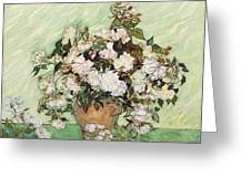 Vase With Pink Roses Greeting Card