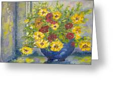 Vase With Yellow Flowers Greeting Card