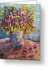 Vased Spring Lilies Greeting Card
