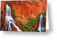 Vaseys Paradise Twin Falls Greeting Card by Inge Johnsson