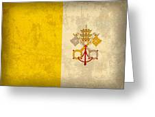 Vatican City Flag Vintage Distressed Finish Greeting Card