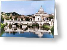 Vatican City Seen From Tiber River Greeting Card