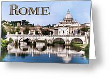 Vatican City Seen From Tiber River Text  Rome Greeting Card