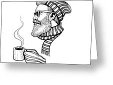Vector Black And White Bearded Man With Greeting Card