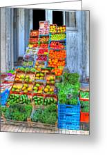 Vegetable And Fruit Stand Greeting Card