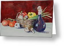Vegetable Basket With Wine Vinegar Greeting Card