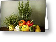 Vegetables And Aromatic Herbs In The Kitchen Greeting Card