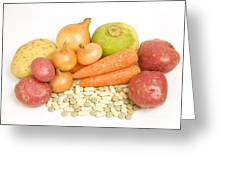Vegetables And Supplement Pills Greeting Card