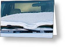 Vehicle Windshield Fresh Snow Thawing Greeting Card