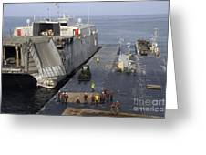 Vehicles Are Transferred Aboard Greeting Card
