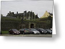 Vehicles At The Parking Lot Of Stirling Castle Greeting Card