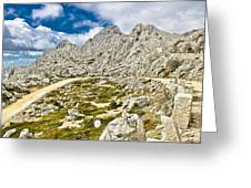 Velebit Mountain Road Serpentine Near Tulove Grede Greeting Card