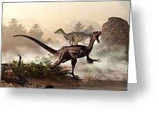 Velociraptors Prowling The Shoreline Greeting Card