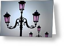 Venetian Lamps Greeting Card by Dave Bowman