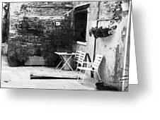 Venetian Street Scene Greeting Card by John Rizzuto