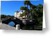 Venetian Style Bridge And Villa In Miami Greeting Card